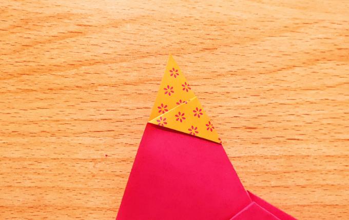 Origami Huhn mit Kopftuch