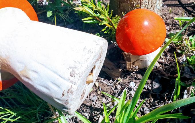 Keramik Pilz mit Hinweis für Schnitzeljagd