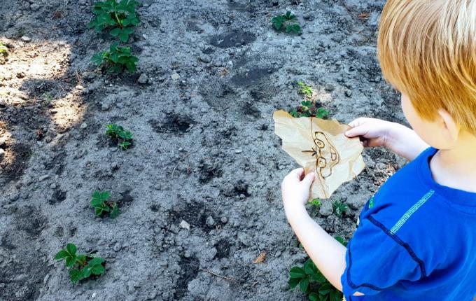 Kind hält Schnipsel für Schnipseljagd im Erdbeerfeld in den Händen - Auto mit Pfeil