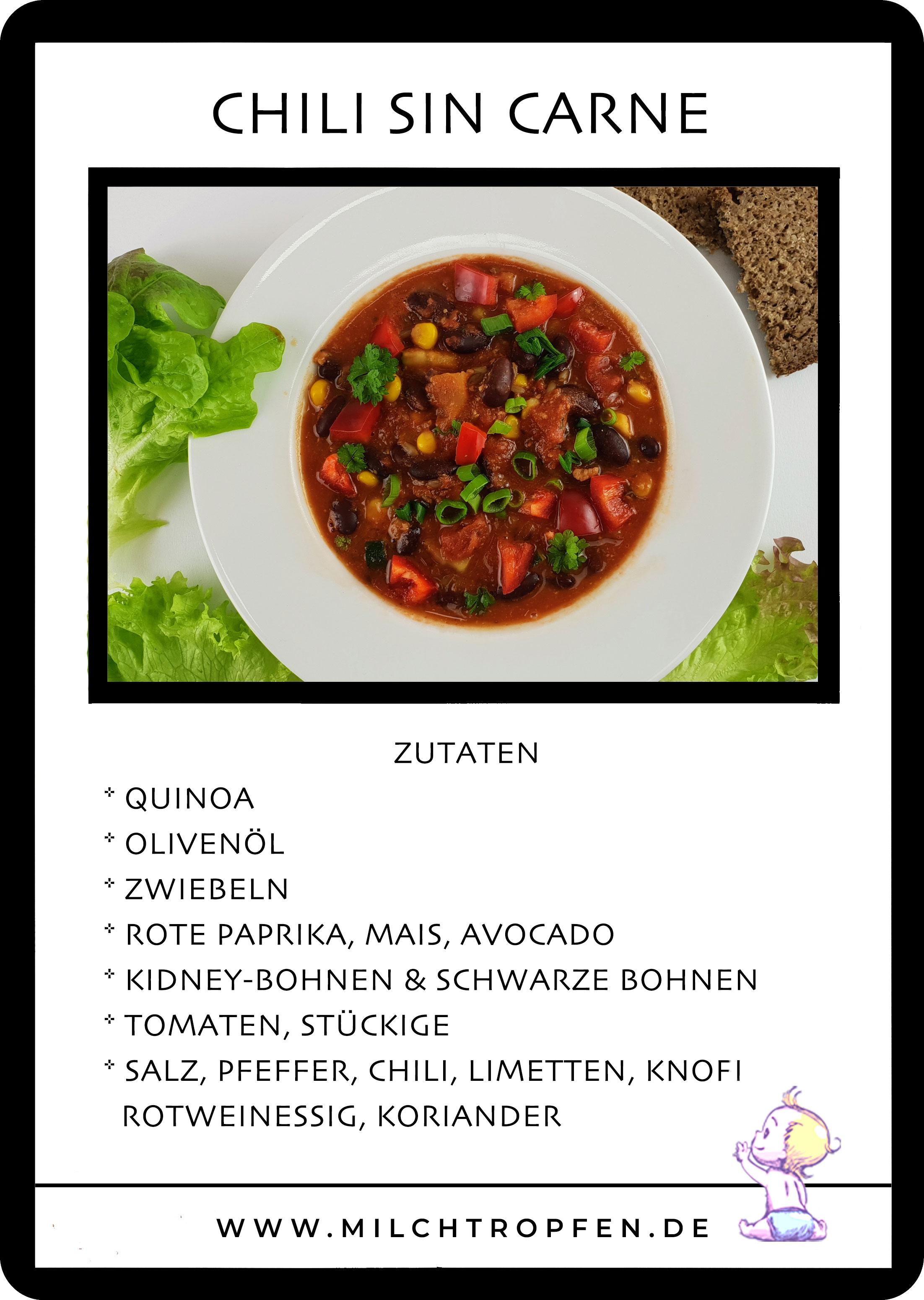 Chili sin Carne mit Quinoa | Mehr Infos auf www.milchtropfen.de