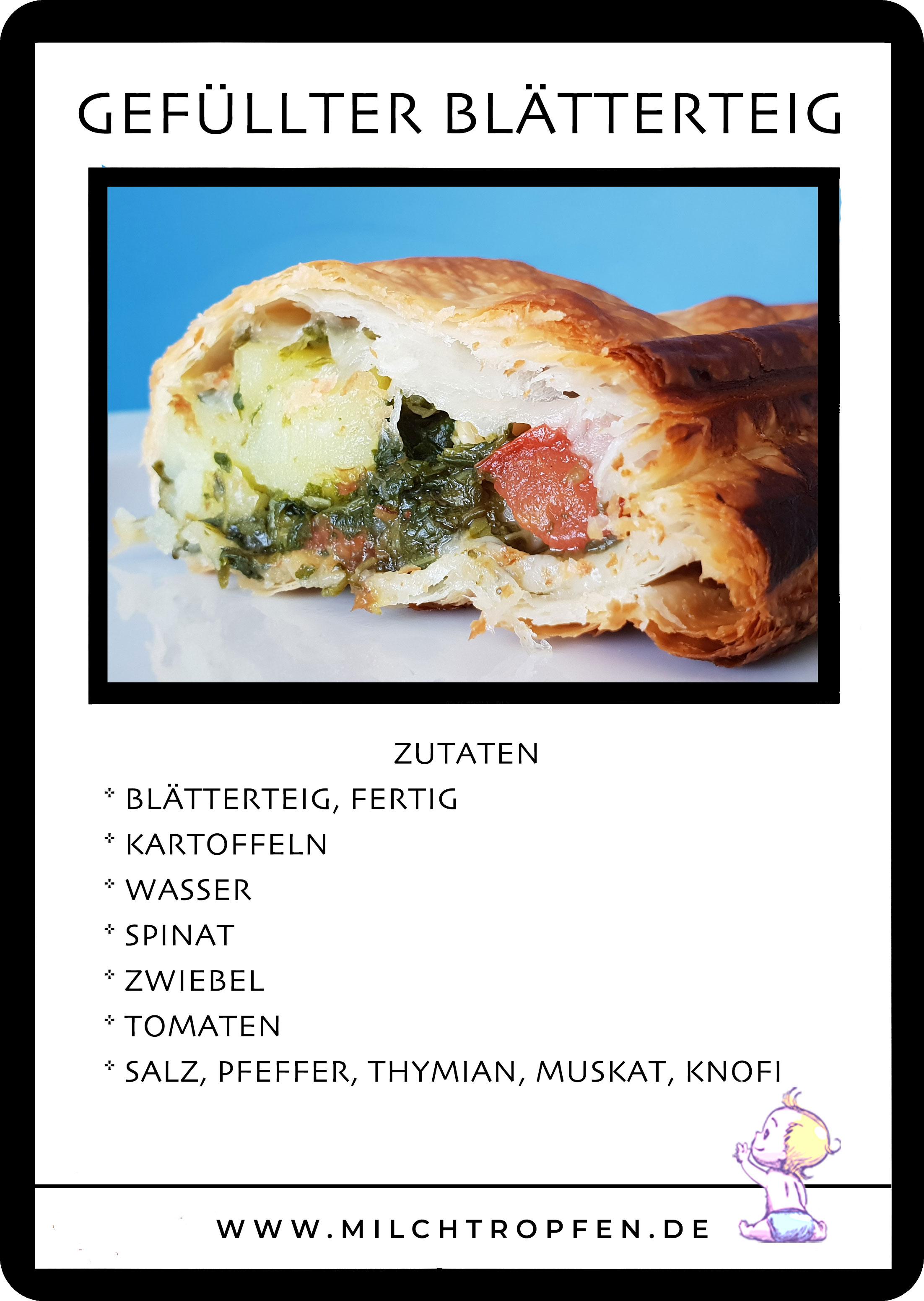 gefüllter Blätterteig mit Kartoffeln und Spinat | Mehr Infos auf www.milchtropfen.de