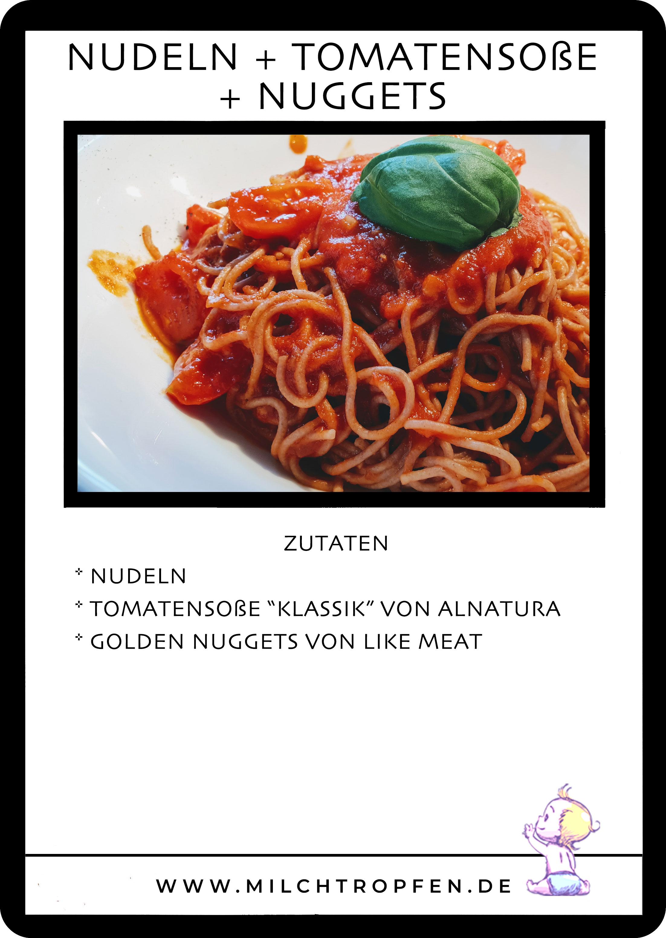 Nudeln mit Tomatensauce und Golden Nuggets von Like Meat | Mehr Infos auf www.milchtropfen.de