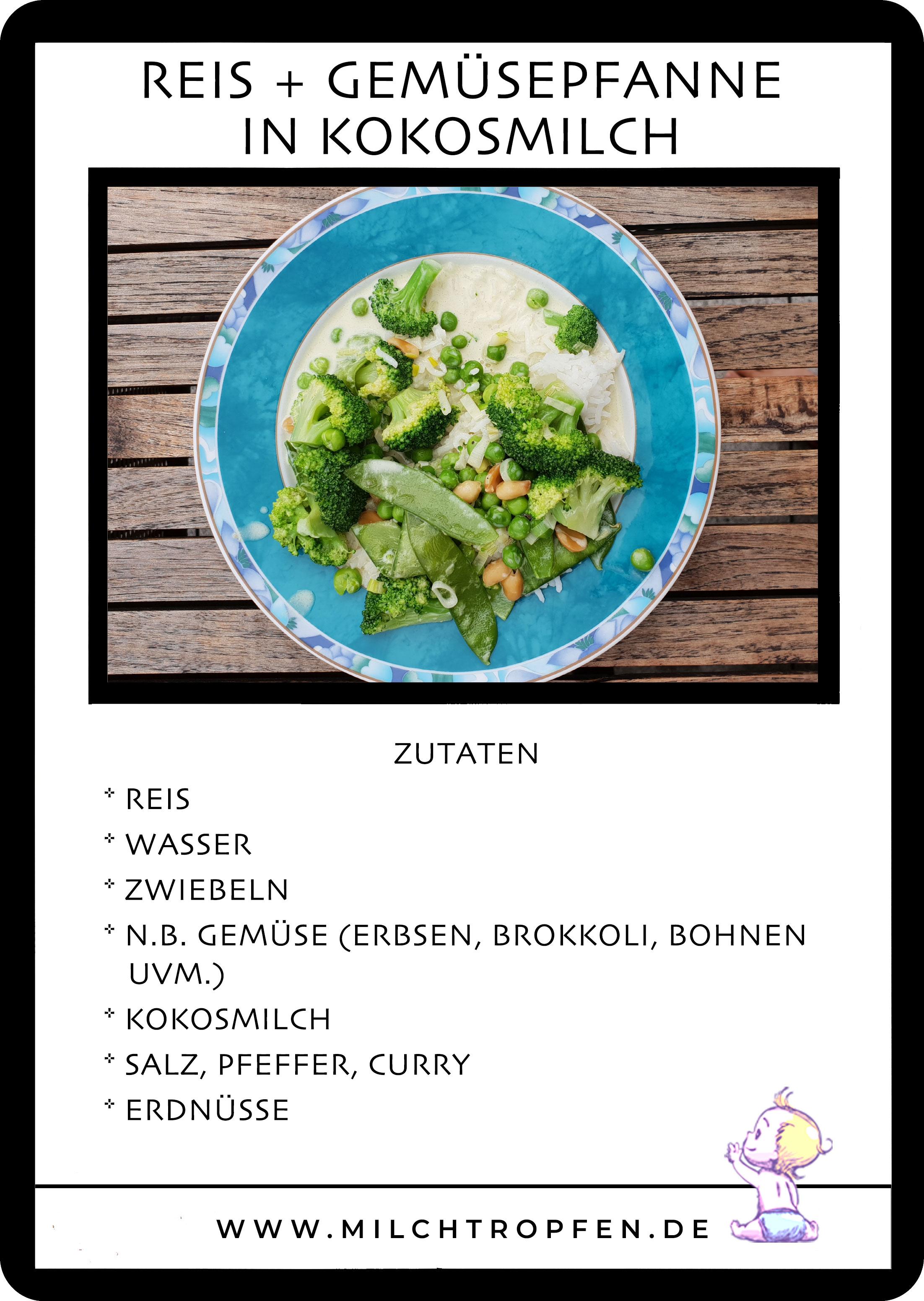 Reis mit einer Gemüsepfanne in Curry Kokosmilch | Mehr Infos auf www.milchtropfen.de