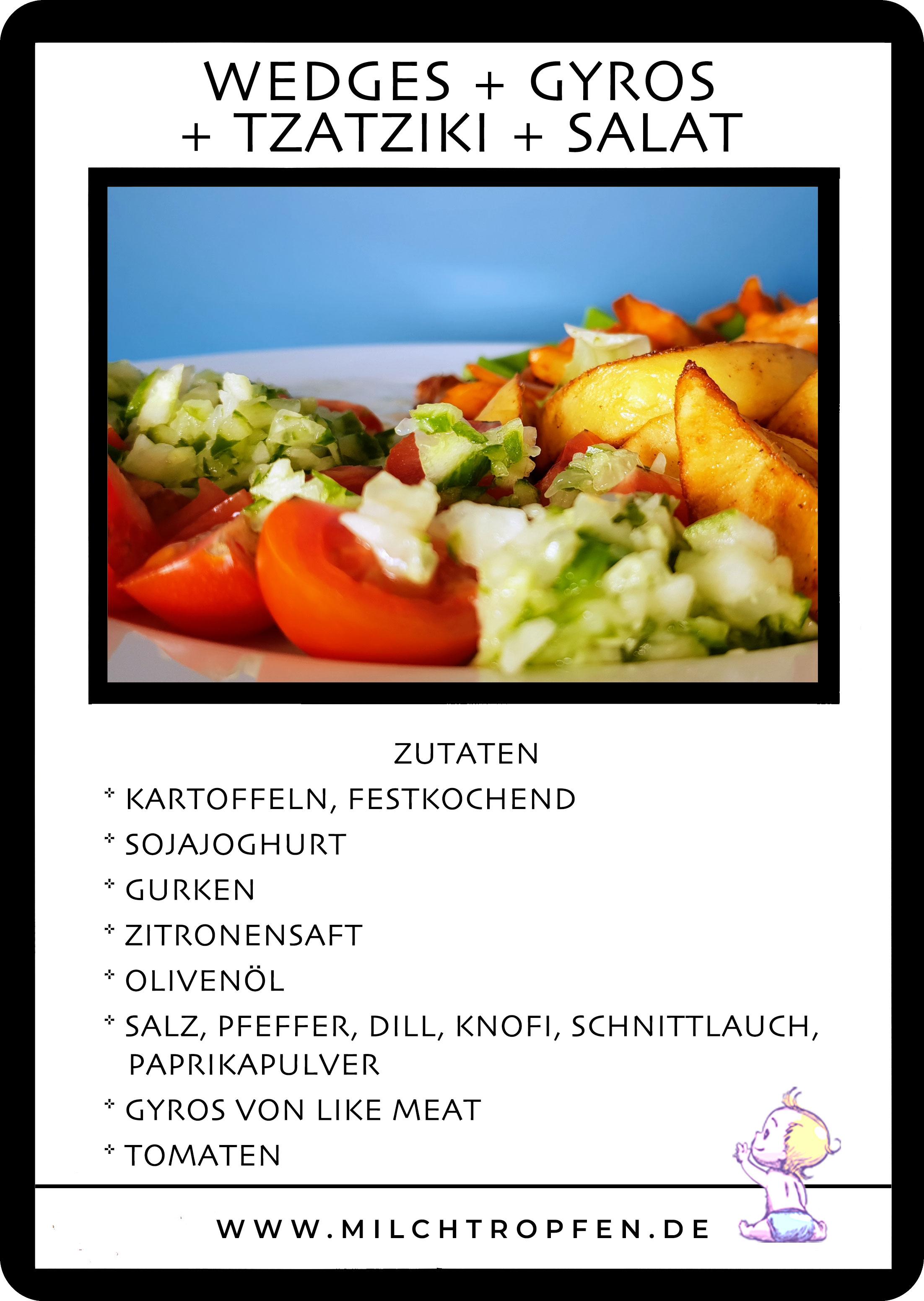 Wedges mit Like Meat Gyros, veganem Tzatziki und Salat | Mehr Infos auf www.milchtropfen.de