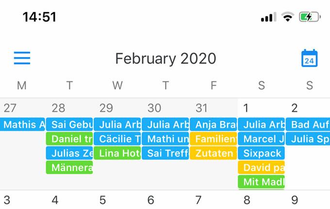 Screenshot Kalender Familie
