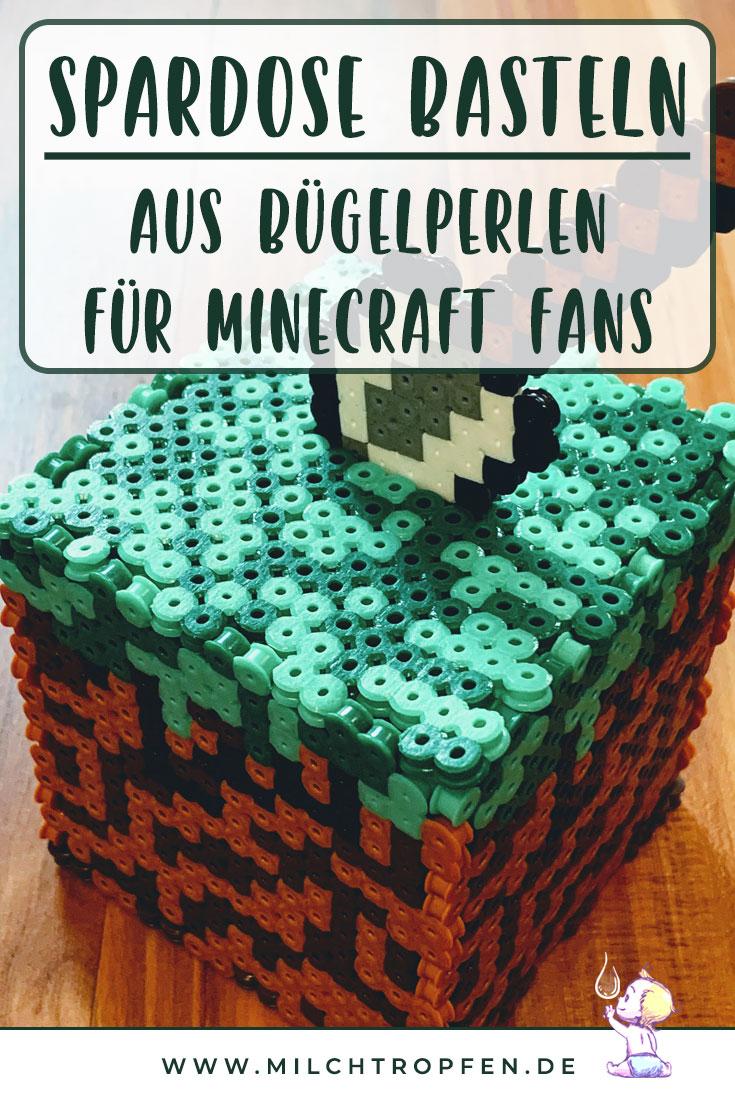 Spardose basteln aus Bügelperlen für Minecraft Fans | Mehr Infos auf www.milchtropfen.de
